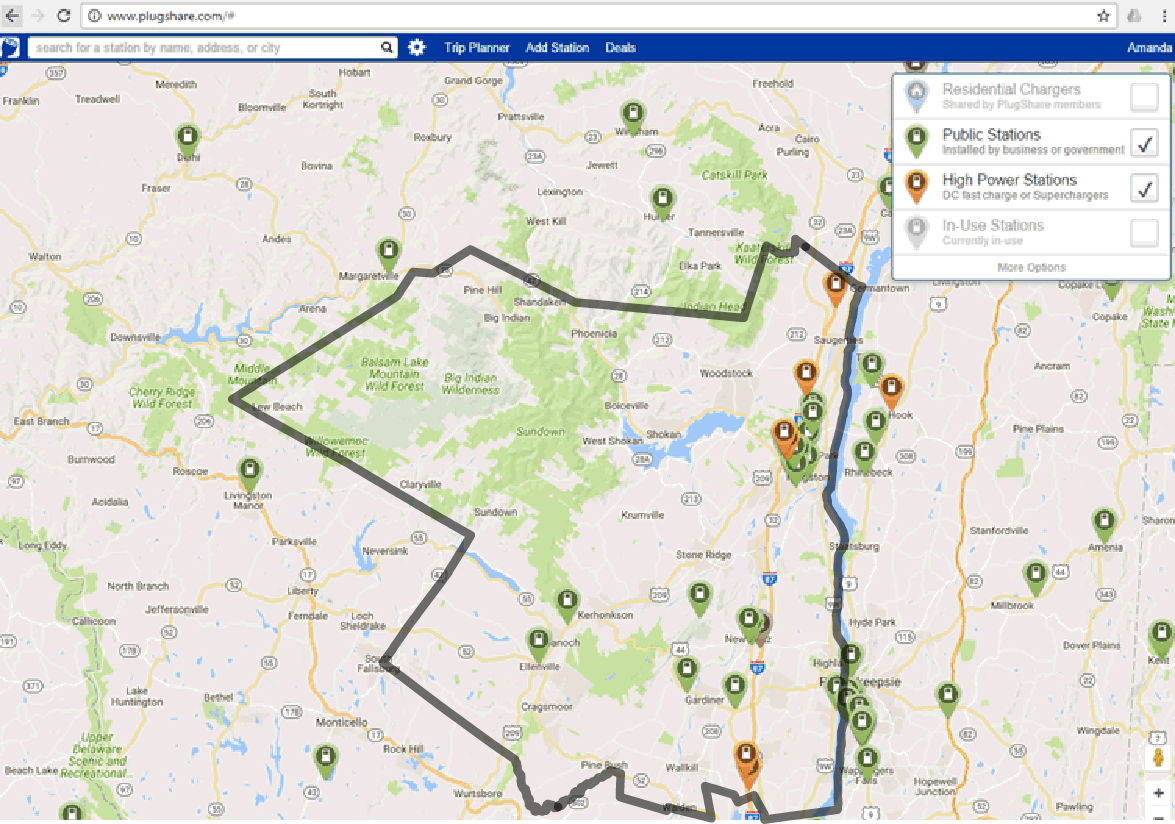 Map Of New York Hudson Valley.Electric Vehicle Ev Charging Stations Ulster County