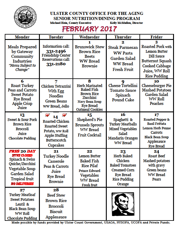 Senior Nutrition Program Menu
