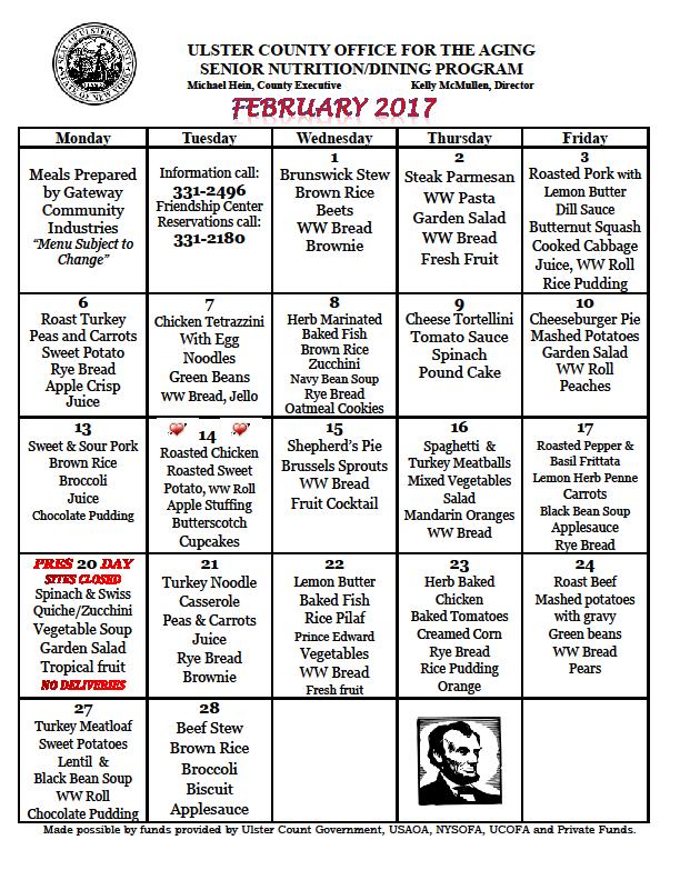 Senior Nutrition Program Menu