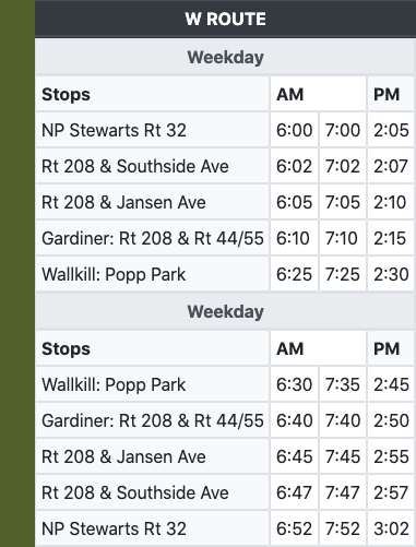Bus Schedules | Ulster County