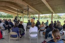 Ulster County Executive Patrick K. Ryan delivers his 2022 Budget Address at the Field of Dreams pavilion in New Paltz